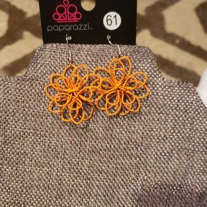 Unworn paparazzi orange 3d flower earrings